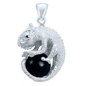 Obsidian Chamäleon Anhänger