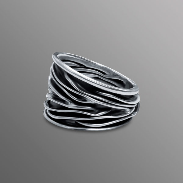 Ozean Wellen Ring Silber