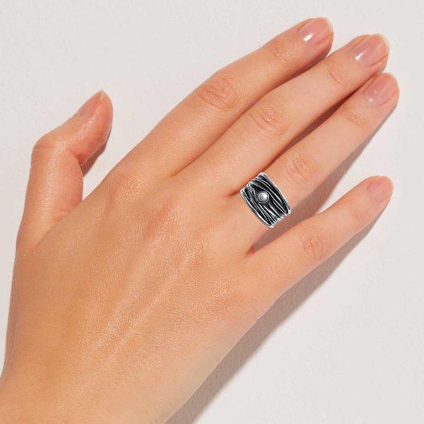 Ring Finger Silber Perle